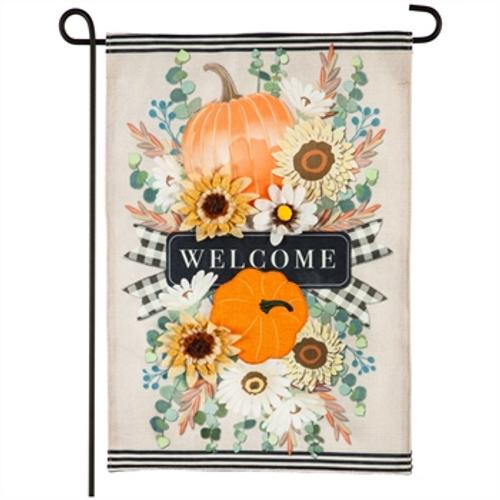 Autumn Floral Swag Garden Burlap Flag