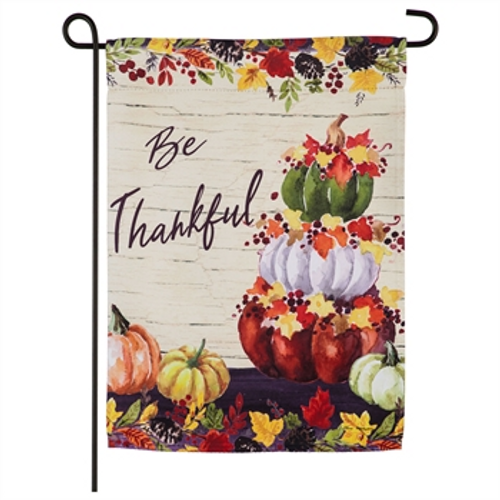 Be Thankful Pumpkin Stack Garden Suede Flag