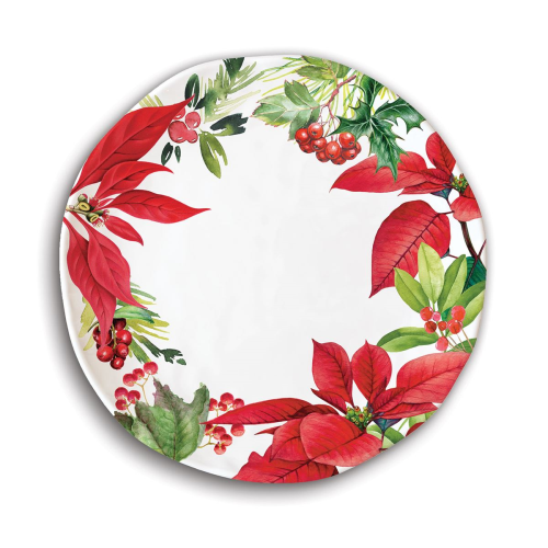 Poinsettia Melamine Casual Dinner Plate