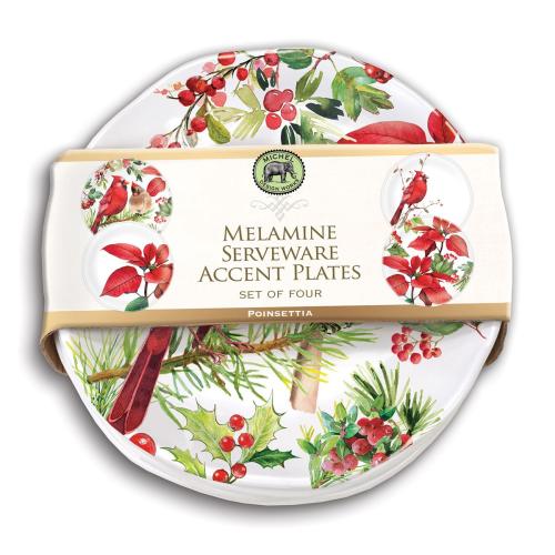Poinsettia Melamine Serveware Set of 4