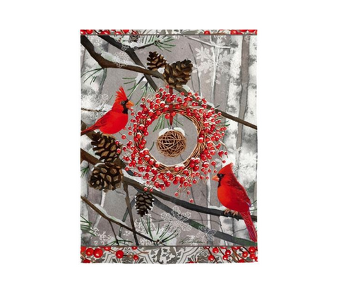Winter Cardinal Branches House Suede Flag