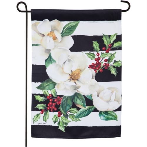Holiday Magnolias Garden Suede Flag