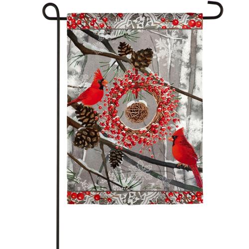 Winter Cardinal Garden Suede Flag
