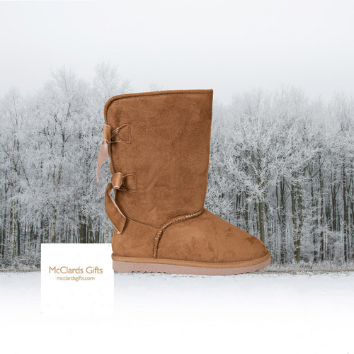 Tan Suede Bow Boots