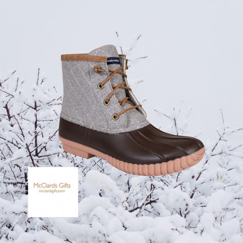 Lace Up Brown and Grey Boot