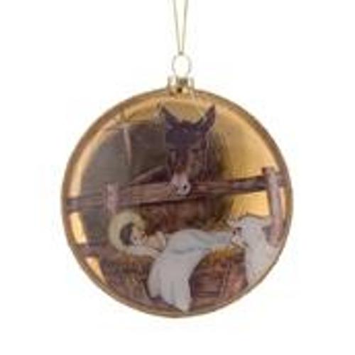 "Baby Jesus w/Animals Disc Ornament  4.5""Diameter"