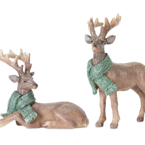 """Deer Brown with Green Scarf 6""""H; 9.75"""" H"""