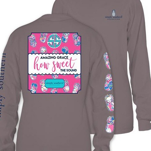Amazing Grace How Sweet the Sound Pink/Gray Long Sleeve