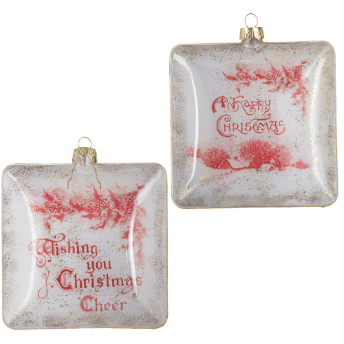 """4"""" Holiday Sentiment Glass Ornament"""