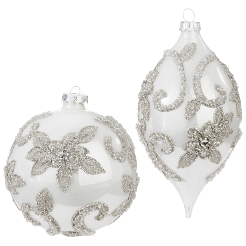 """4.25"""" Silver Beaded Glass Ornament"""