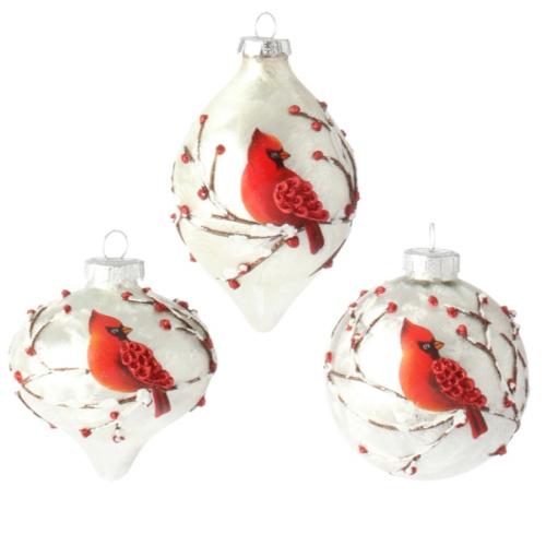 3' Cardinal Glass Ornament