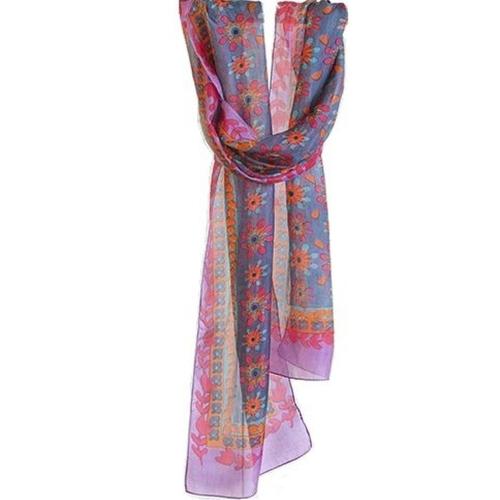 Silk Headwrap/Scarv Grey/Purple