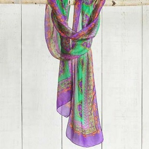 Silk Headwrap/Scarve Green/Pur.