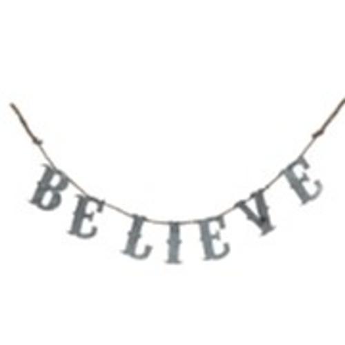 Galvanized Metal Believe Banner