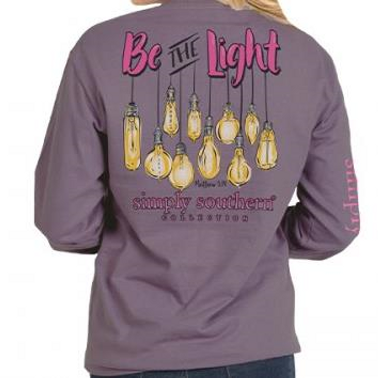 Be the Light Simply Southern Long Sleeve Plum - Youth