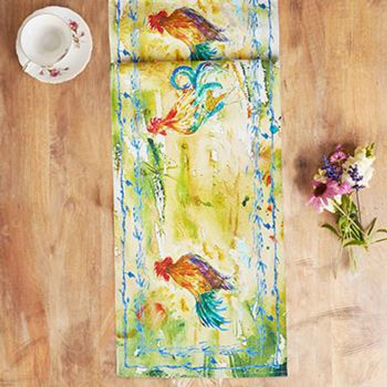 Rooster Watercolor Table Runner