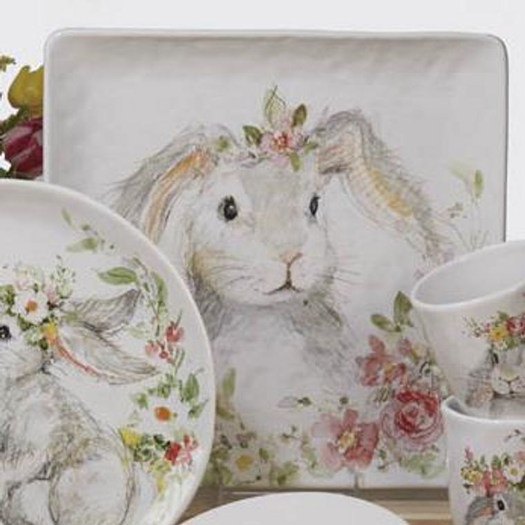 Sweet Bunny Square Platter 12.5in