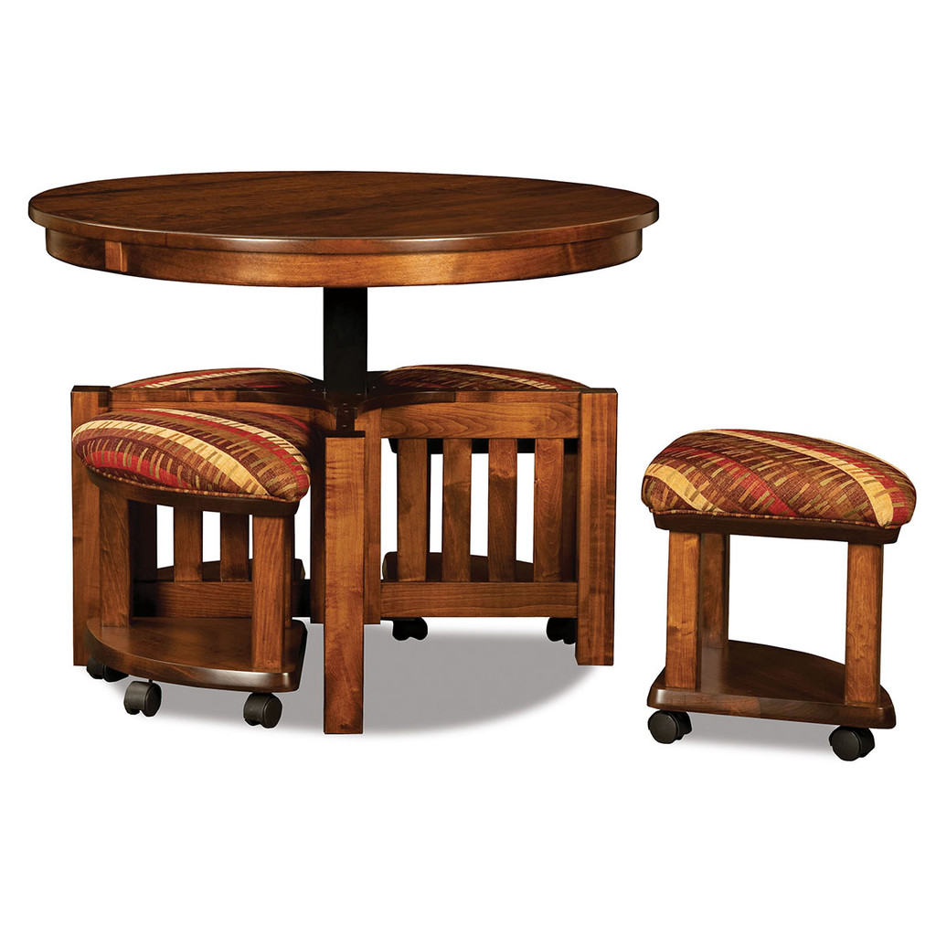 Five Piece Round Table Bench Set