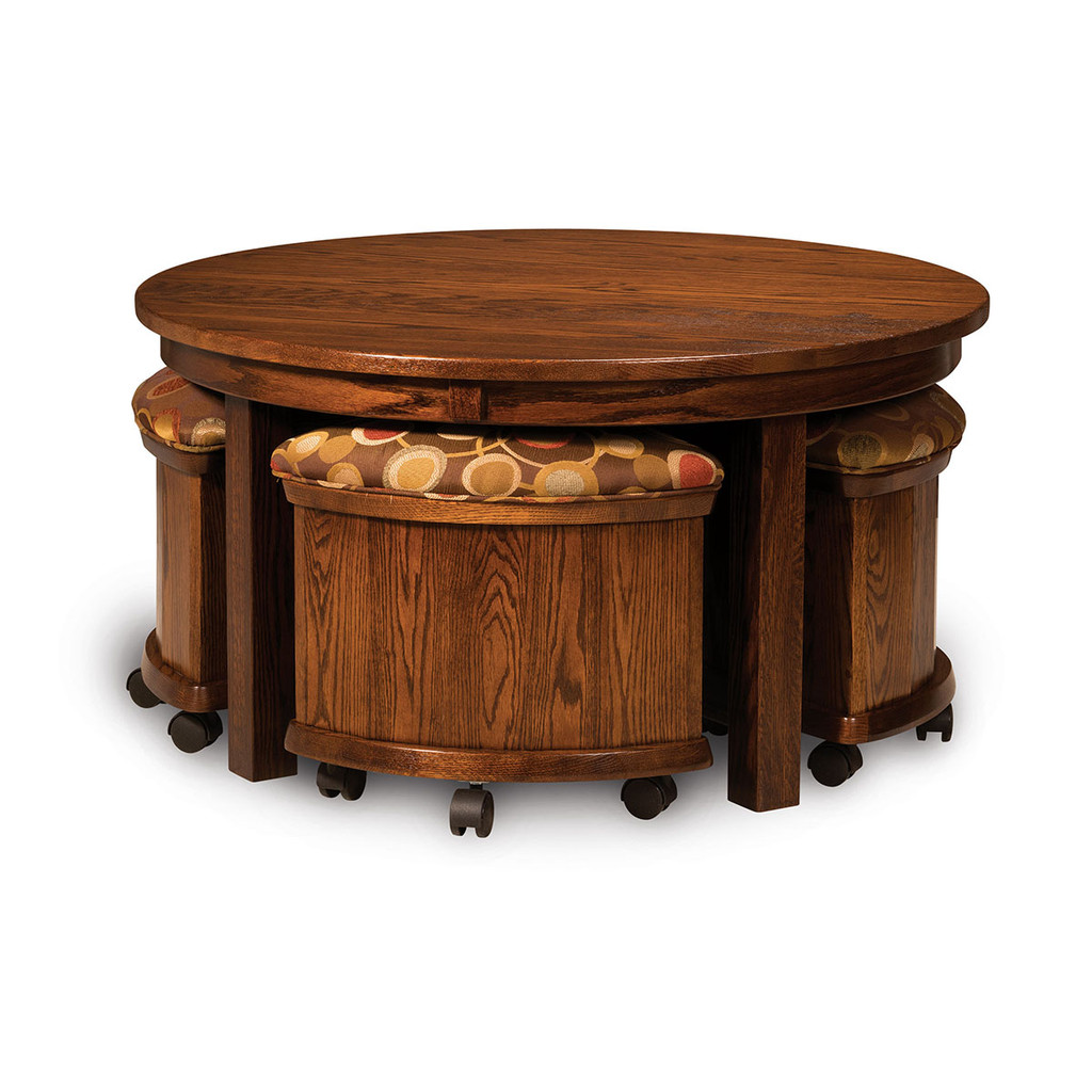 Five Piece Round Table Bench Set (with Storage)