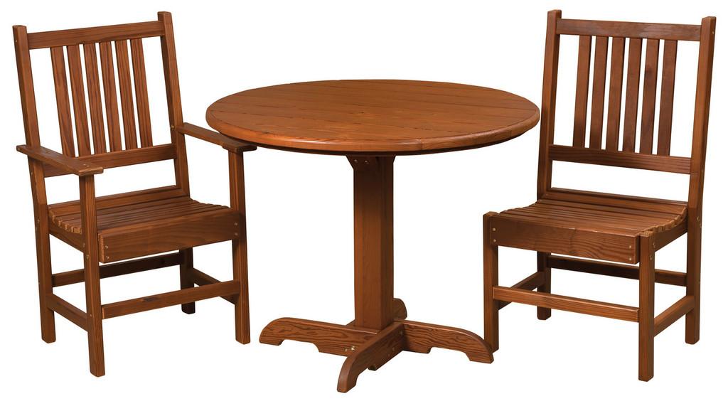 Cedar Single Pedestal Table & Chairs Set