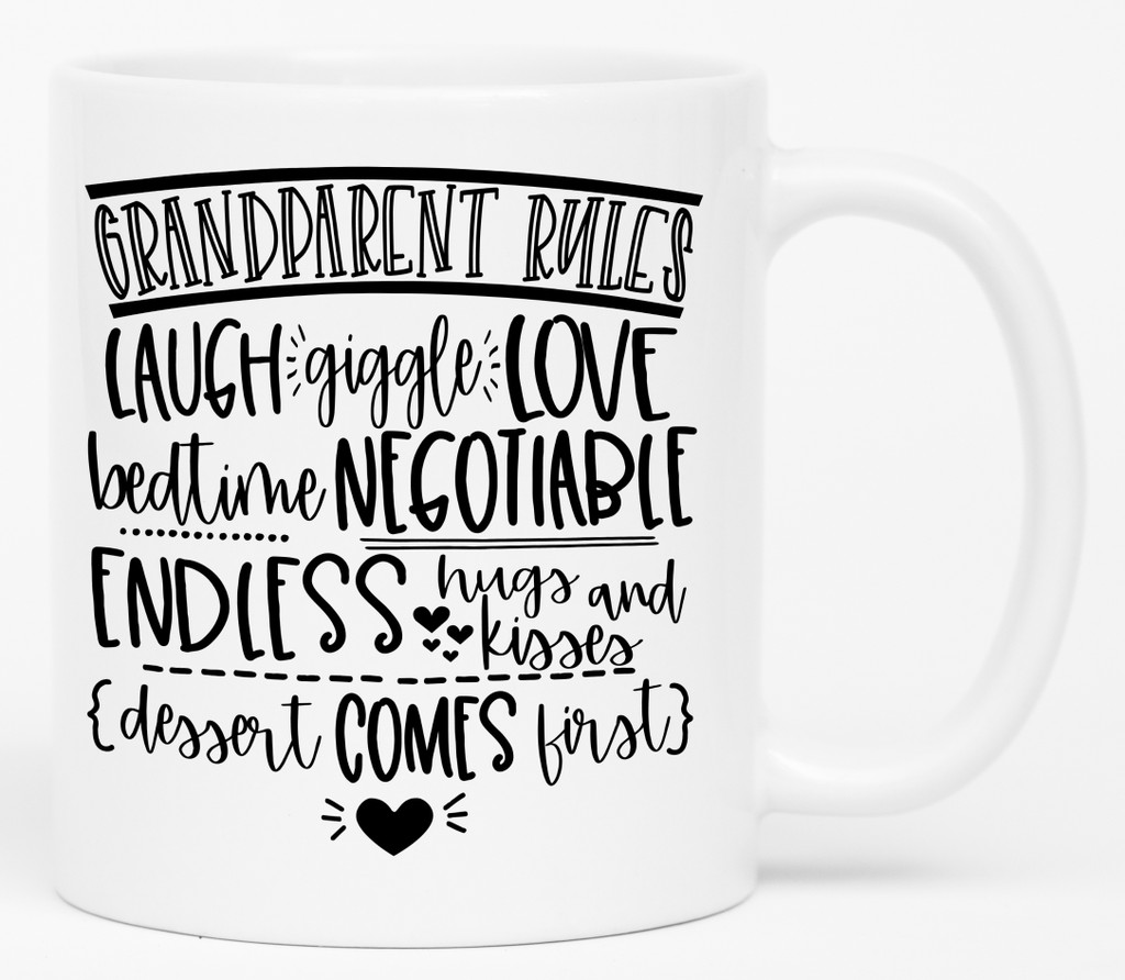 Grandparent Rules Coffee Mug | Funny Grandparent Mugs | Coffee Mugs with Sayings | Coffee Cups | Grandma | Grandpa | Birthday | Unique Gift