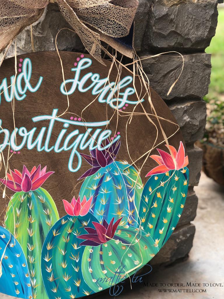 Customized Door Signs | Cactus Decor | Personalized Door Sign with Flowering Cactus