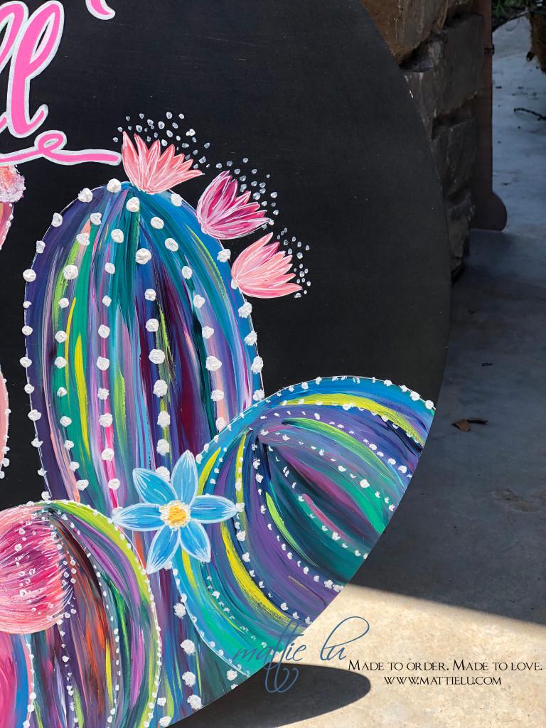 Welcome Door Hanger   Cactus Decor   Welcome Y'all with Flowering Cactus   Decorative Front Door Hangers
