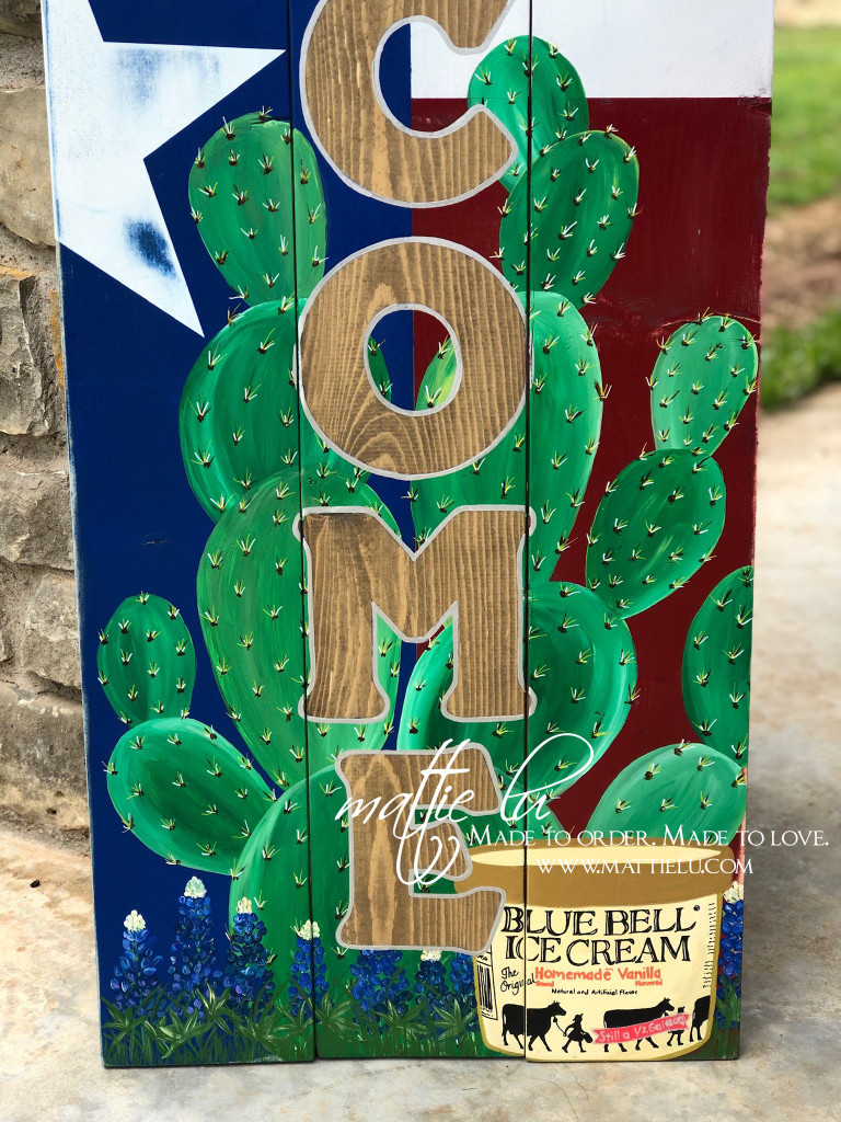 Welcome Front Porch Sign| Front Porch Decor| Blue Bell| Bluebonnet Flowers| Texas Flag Welcome Sign| Texas Flag and Cactus| Cactus Welcome Sign