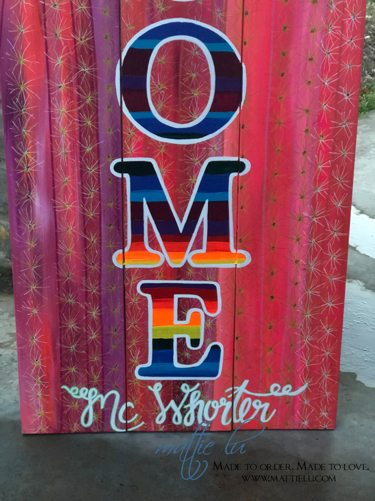 Front Porch Decor| Custom Front Porch Welcome Sign|Name Porch Sign|Welcome Sign| Serape Welcome Sign| Serape Letters| Pink Cactus| Serape and Cactus| Flowers