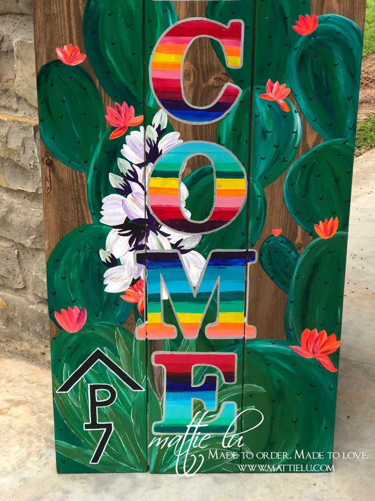 Front Porch Decor| Custom Welcome Sign| Brand| Cactus Welcome Sign| Serape and Cactus