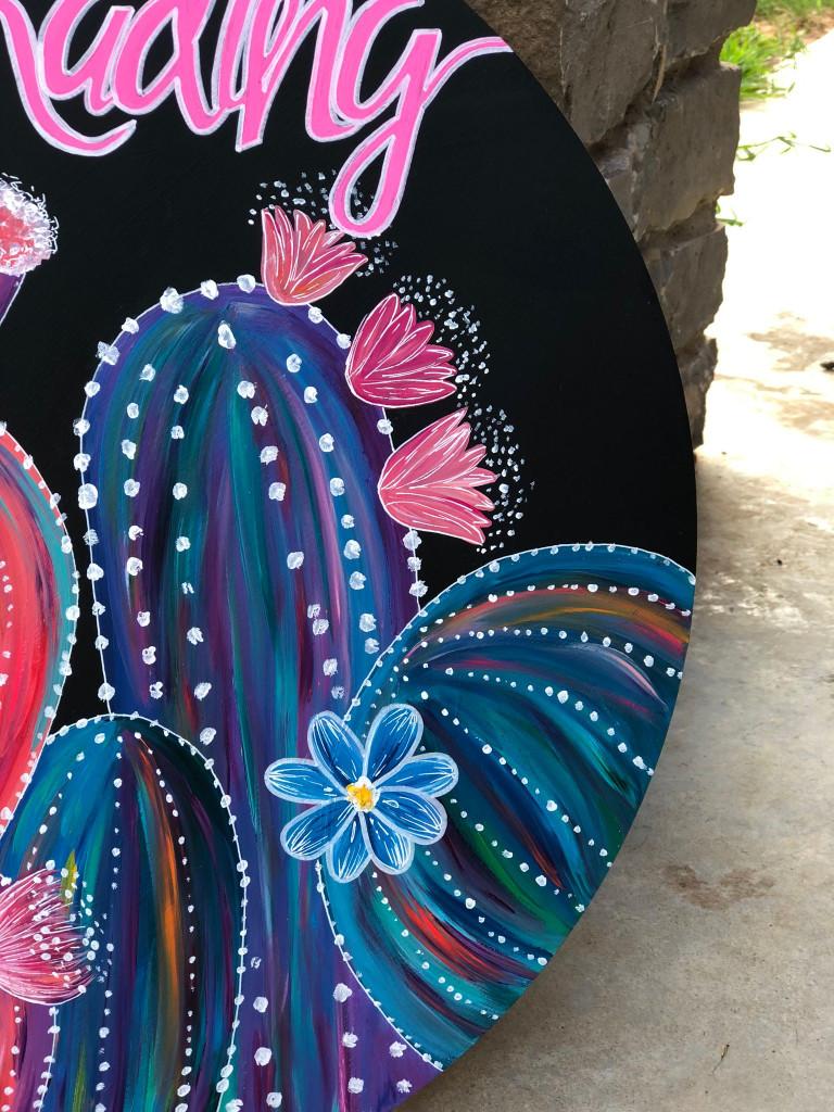 Front Door Decor| Cactus Door Hanger| Personalized Door Hanger| Flowering Cactus