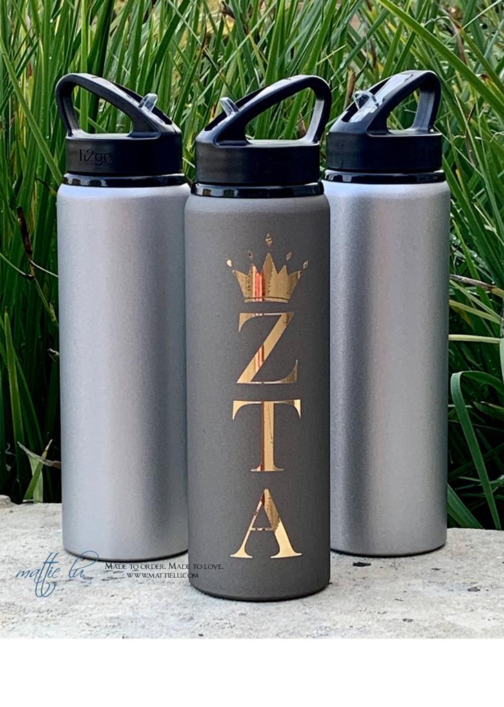 Personalized Water Bottle, Custom Metal Water Bottle, Sorority Water Bottle, Fraternity Water Bottle, Water Bottle with Straw, Mattie Lu