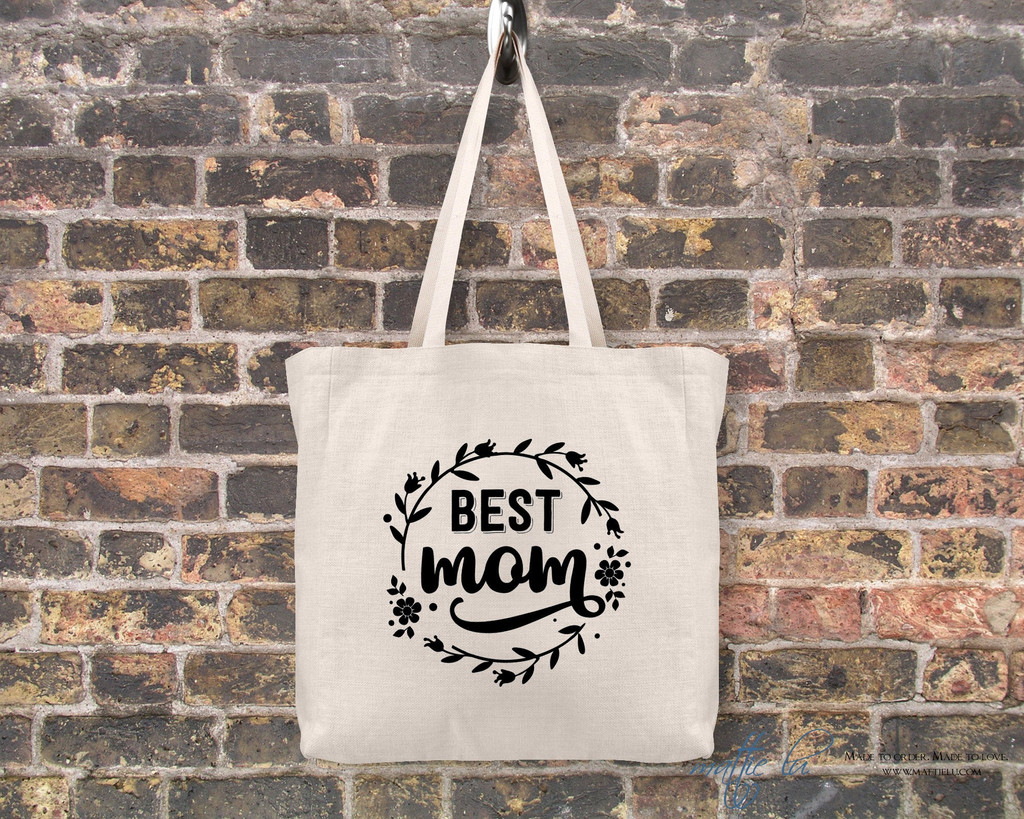 Best Mom Canvas Tote Bag | Mom Tote Bag | Tote Bags for Women | Tote Bag Personalized | Tote with Saying | Gift for Mom | Cute Shopping Bag