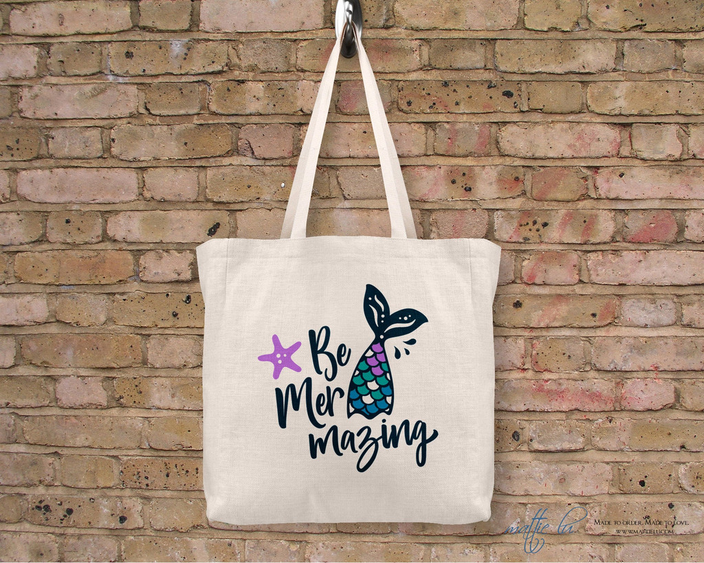 Be Mer Mazing Tote Bag   Mermaid Tail   Mermaid Saying   Tote Bags for Women   Tote Bag Personalized   Tote with Saying   Gift Idea for Mom
