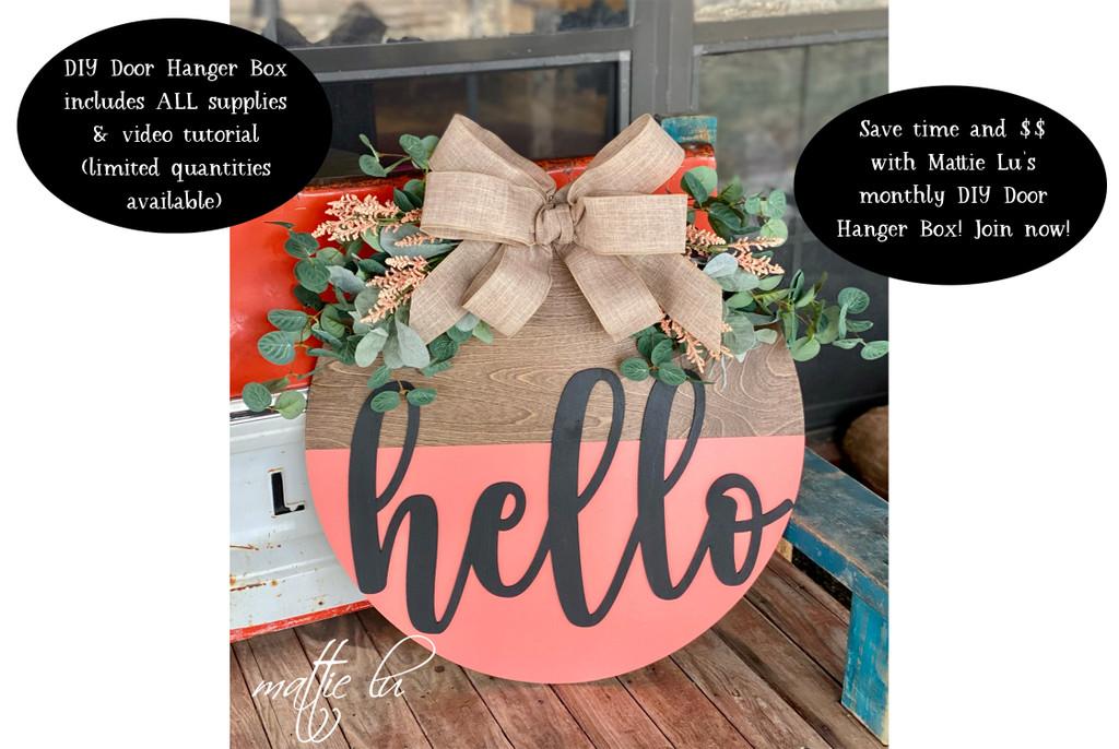 Front Door Hanger DIY Kit Subscription Box, Spring Home Decor Craft Kit, Adult Paint Party Door Hanger, Farmhouse Door Sign Kit, Mattie Lu