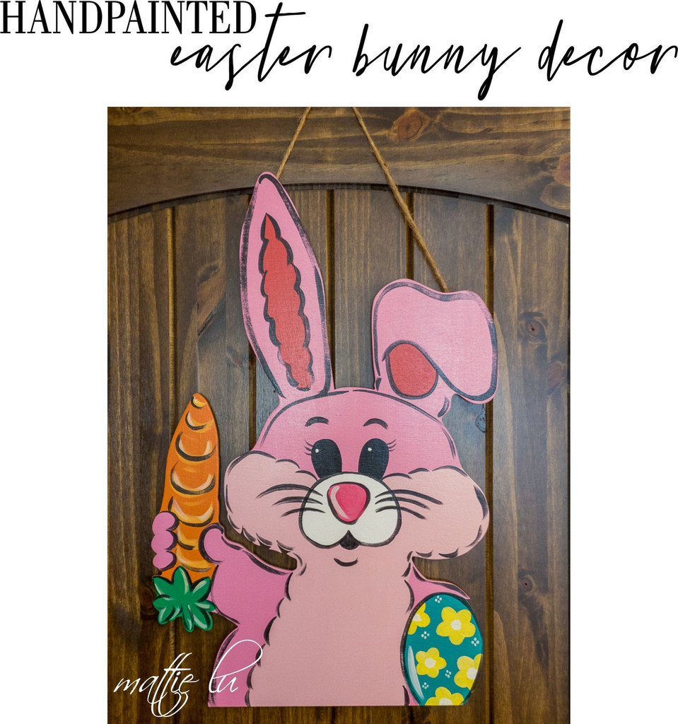 Handpainted Easter Door Hanger, Farmhouse Easter Decor, Spring Door Hanger, Easter Bunny Door Hanger, Easter Sign Decoration, Mattie Lu