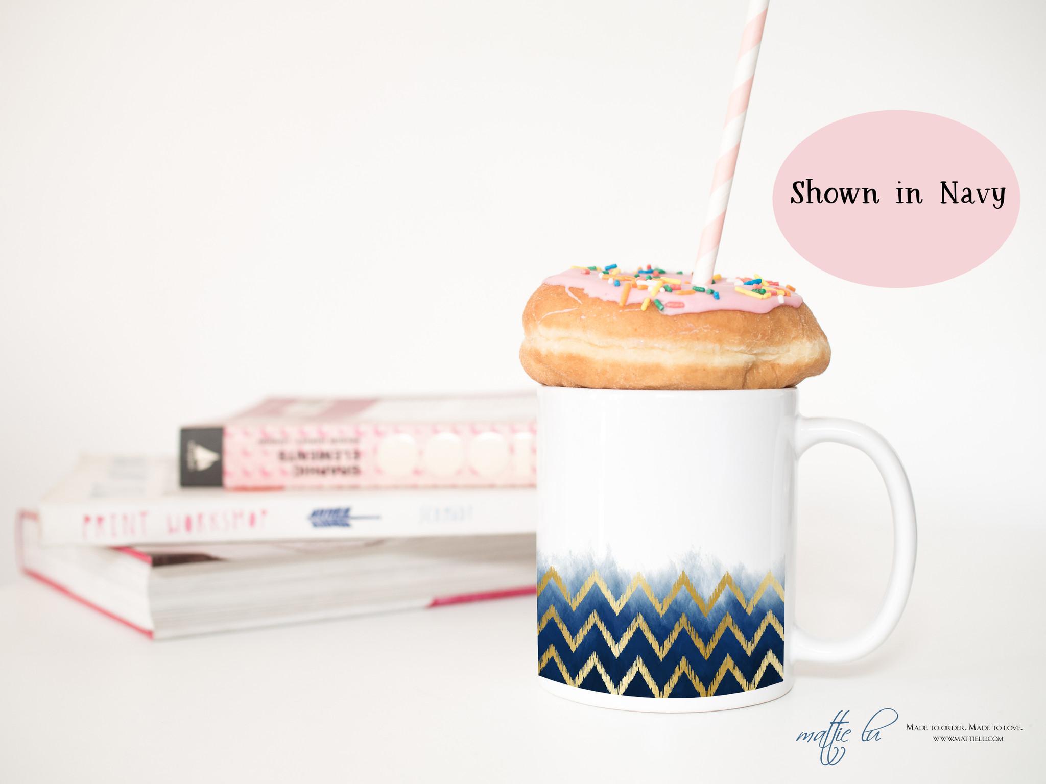 Personalized Gold Ikat Ombre Coffee Mug Chevron Pattern Tribal Pattern Boho Style Coffee Mugs Coffee Cups Trendy Blush Gray Navy Mattie Lu