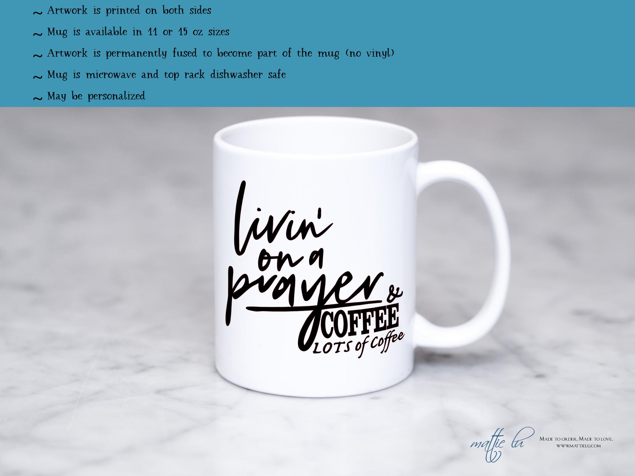 The Mug Coffee >> Livin On A Prayer Coffee Mug Religious Mugs Coffee Mugs With Religious Sayings Coffee Cup With Saying Mom Gift Teacher Gift