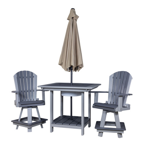 Pub Table with Swivel Bar Chair Set (Poly)