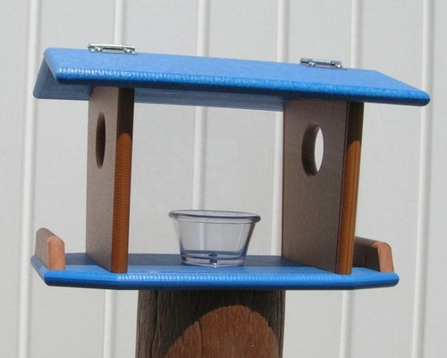 Amish Made Post Mount Bluebird Feeder