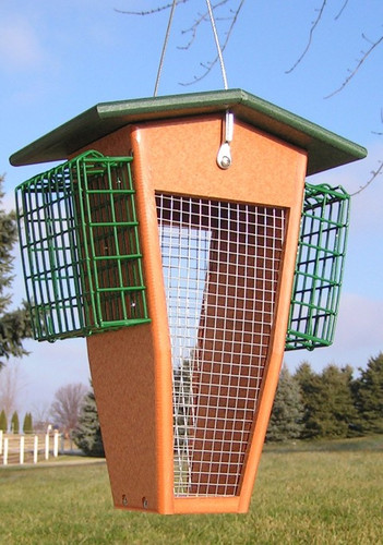 Amish Made Wild Birds Split Peanut Feeder with Suet