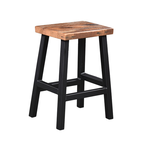 Bar Stool (Barn Wood / Black Metal Base)