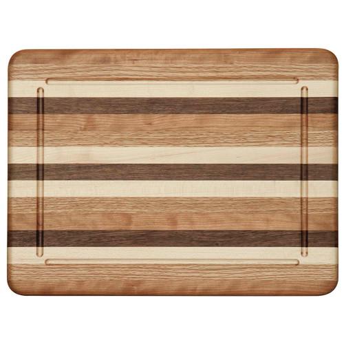 Multi-Wood Narrow Striped Cutting Board (Blood Groove)