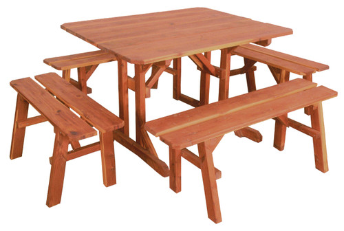 Cedar Picnic Table & Benches Set