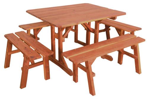 Cedar Picnic Table & Benches Set