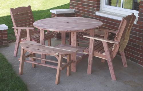 "48"" Cedar Round Picnic Table Set"