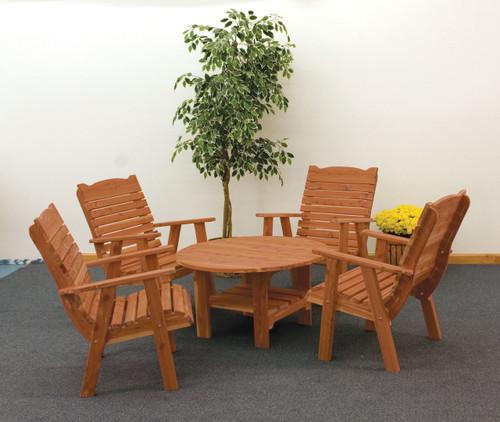 Cedar Round Coffee Table & Chairs Set