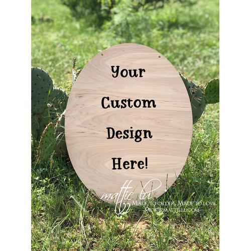 Oval Door Hanger |  Custom Door Hanger | Personalized Home Gifts