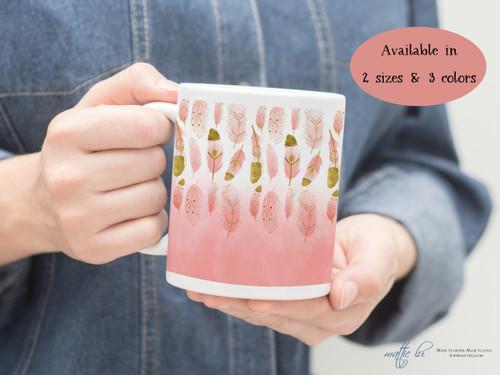 Personalized Ombre Boho Feathers Coffee Mug | Feathers Coffee Mug | Boho Feathers Watercolor | Tribal | Custom Coffee Mugs | Cute Coffee Cup