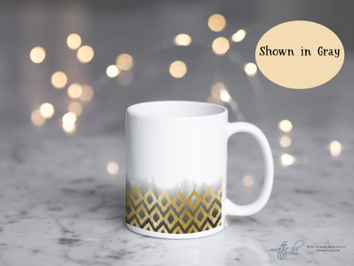 Personalized Gold Ikat Argyle Ombre Coffee Mug | Boho Blush Gray Navy Ombre | Argyle Pattern | Tribal | Custom Coffee Mugs | Coffee Cups